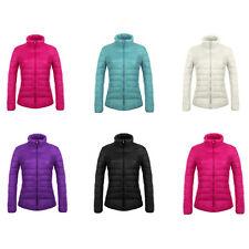Womens Ultra Light Long Sleeve Stand Collar Puffer Down Jacket Windproof Coat