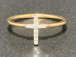 Kendra Scott 14K Yellow Gold White Diamond Cross Band/Ring - Size 5 -Ships Free-