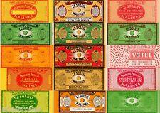 15 FRUIT CAN LABELS VINTAGE LOT GENUINE 1920S FRANCE GRAPHIC DESIGN BELGIUM