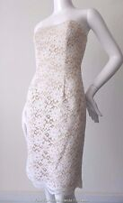 PROJECT D Size 6 - 8 US 2 - 4 Strapless Cream Lace Sheath Dress  RRP $935.00