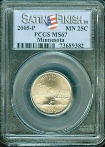 2005-P MINNESOTA STATE QUARTER SATIN FINISH 25 CENTS PCGS MS67 BU UNC COIN #M