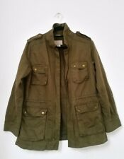 h&m womens coat size 38 ladies long jacket military green casual blogger chic