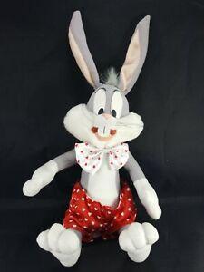 "Looney Tunes Bugs Bunny Rare Valentine Heart Bow tie Shorts 14"" Plush Stuffed"