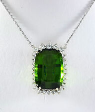 17.42ct Green TOURMALINE White GOLD Pendant Necklace - N6344