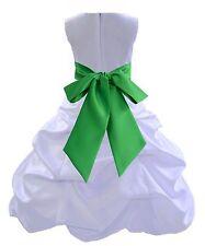 ELEGANT NEW WHITE PICK-UP FORMAL FLOWER GIRL DRESS RECITAL PAGEANT BUBBLE STYLE