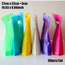 50pcs Plastic Gifts Bags With Handle Wrapping Supplies Shopping Bag Candy Colors