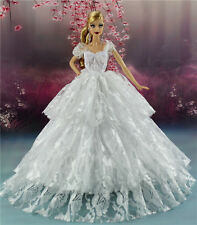 White Fashion Royalty Princess Party Dress/Clothes/Gown For Barbie Doll S134W