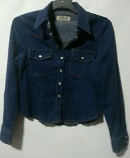 URBAN EXPOSURE BLUE DENIM STRETCH CROP SHIRT SIZE 12 USED PEARL CLIP BUTTONS