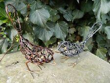 Metal Bird Robin Sparrow Garden Ornaments - Pair of Wire Birds 1xsilver 1xbronze
