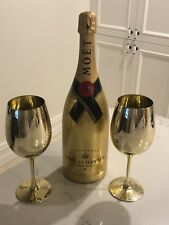 Mint Gold Display Moet 1500ml Champagne Bottle x2 Glasses Wine Bar Cart Trolley
