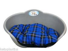 SMALL Plastic SILVER GREY Pet Bed With BLUE TARTAN Cushion Dog Cat Sleep Basket
