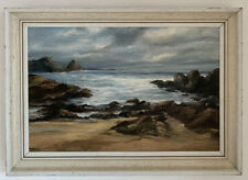 Mid Century Post Impressionist Seacsape Oil On Canvas Painting, Signed