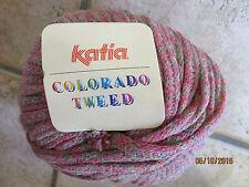 7 x 100g Skeins KATIA Colorado Wool Tweed Ribbon Yarn Dark Pink/melon/green
