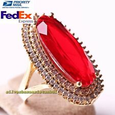 Turkish 925 Sterling Silver Oval Long Red Ruby Stone Ladies Womans Ring