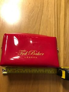 TED BAKER TOILETRY BAG MAKE UP ZIPPED LONDON PAINTED LEATHER