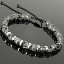 Men's Women Braided Bracelet Black Rutilated Quartz Sterling Silver Spacers 1165