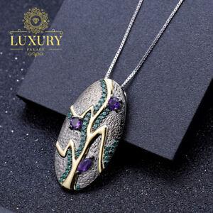 Natural Amethyst Leaf Necklace 1.07Ct 925 Sterling Silver Handmade Leaf Pendant