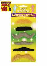 Assorted Fake Moustaches~6 Pack~Joke Tash~Novelty~Party~False Facial Hair Tashes