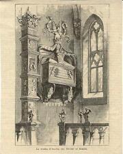 Stampa antica RIMINI DUOMO Sepolcro di Isotta Romagna 1887 Old antique print