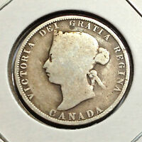 CANADA 1874-H TWENTY FIVE CENTS STERLING SILVER NICE COLLECTOR COIN