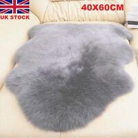 Soft Faux Imitation Sheepskin Chair Cover Pad Carpet Fluffy Fur Room Rug Grey PE