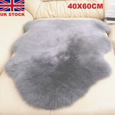 Soft Faux Imitation Sheepskin Chair Cover Pad Carpet Fluffy Fur Room Rug Grey