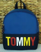 Tommy Hilfiger Women Blue Nylon Zip Backpack Medium Shoulder Bag Purse