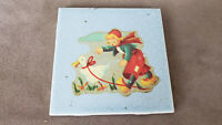 """Rare vintage tile with children´s motive. A girl with a goose on a leash. 4""""x4"""""""