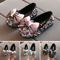 Toddler Infant Kids Baby Girls Bow Crystal Bling Casual Princess Shoes Loafers