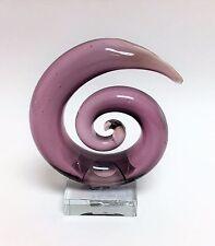 NEW MURANO STYLE HANDMADE ART GLASS PURPLE SPIRAL,SWIRL FIGURINE,PAPER WEIGHT
