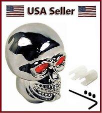 New Chrome Skull Head Red eyes Shift Knob Auto Car 4 5 6 Speed Universal Shifter