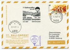 1987 Ballonpost n. 77 Pro Juventute Aerostato OE-KZM  Kurstadt Gmunden ONU