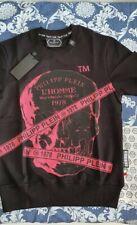 Felpa philipp plein Nera con scritte e teschio rosa scuro Taglia M