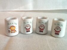 Set of 4 Vintage Russ Berrie Porcelain Mini Christmas Candle Stick Holders #2521