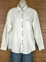 Paris Sport Club PSC White Button Down Blouse Shirt Womens Size Large L Vintage