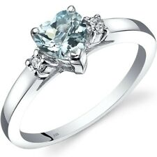 14K White Gold Aquamarine Diamond Heart Ring 0.75 Carat Size 7