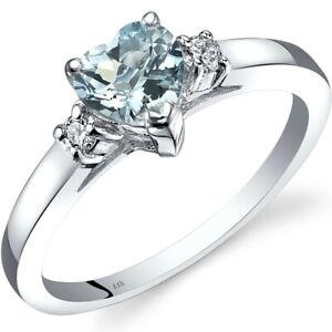 14K White Gold Aquamarine Diamond Heart Ring 0.75 Carat Size 7