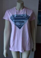 SUPERMAN Gildan Ladies Pink T-Shirt Large Logo size XL new with tag #27