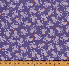 Cute Octopuses Bows Ocean Sea Animals Purple Cotton Fabric Print by Yard D669.28