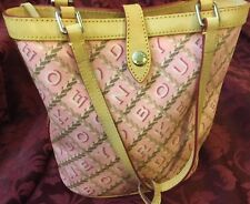 DOONEY & BOURKE PURSE HANDBAG SMALL SHOPPER BUBBLEGUM PINK CROSSWORD VACHETTA