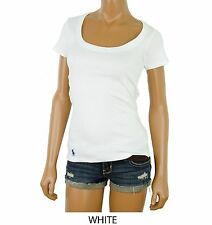 NWT Polo Ralph Lauren WOMENS Ribbed Scoop Neck Pony Tee T-Shirt