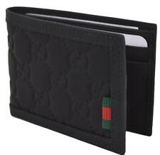 NEW Gucci Men's 233157 Black Neoprene Red Green Web Mini GG Guccissima Wallet