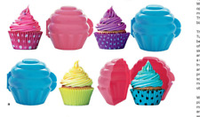 """Four x Tupperware Cupcake Muffin Containers 4.5"""" Tall - Candy Pink & Blue - New"""