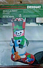 "Bernat FROSTY & FRIEND 18"" Christmas Stocking Felt Applique Kit Snowman Bird NEW"