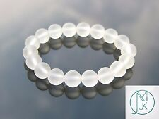 Frosted Rock Crystal 10mm Natural Gemstone Bracelet 7-8'' Elasticated Healing