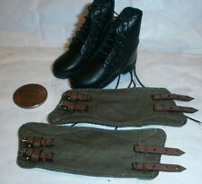 Alert Line German black boots with cloth gaiters 1/6th scale toy accessory
