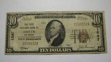 $10 1929 Dover Delaware DE National Currency Bank Note Bill Ch. #1567 RARE!