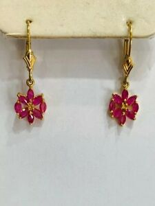 14k Solid Yellow Gold Dangle Leverback Earrings1.50GM/Natural Ruby 1.69CT