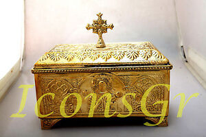 Orthodox Bronze Box Velvet Coating Handmade Greek With Cross (4088b)
