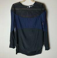 Derek Lam 10 Crosby Women's Silk Top Size 2 Small Mesh Shoulder Detail Black